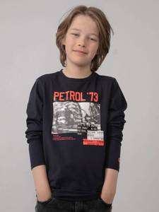 Bilde av Petrol Print T-Shirt LS, Dark Navy
